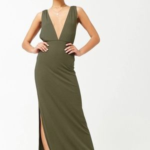 Forever 21 Plunging Ribbed Knit Maxi Dress - Olive